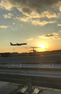 空,夕日,飛行機,夕方