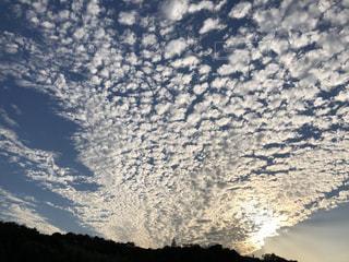 秋,白,青,夕焼け,夕暮れ,景色,うろこ雲,秋空,白い雲,秋の空,鱗雲,沈む夕日,秋の夕暮れ