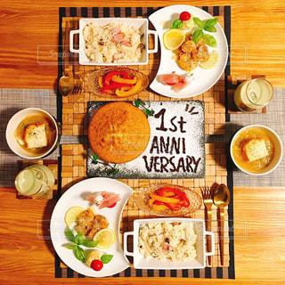 食品の完全なテーブルの写真・画像素材[1675429]