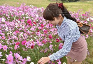花の前に立っている女性の写真・画像素材[916542]