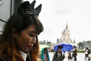 女性,雨,傘,雨上がり,梅雨,ディズニー