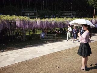 傘を持って通りを歩いている人の写真・画像素材[1249210]