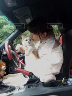車で犬と一緒にバイクに座る人の写真・画像素材[1291602]
