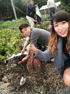 女性,自然,秋,カップル,日本,美味しい,デート,パーマ