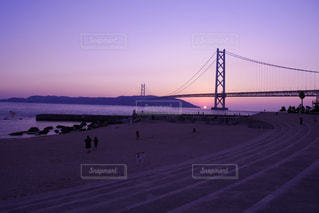 明石海峡大橋と夕焼け - No.986477