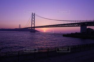 明石海峡大橋と夕焼け - No.986479