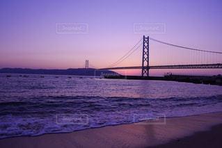 明石海峡大橋と夕焼け - No.986483