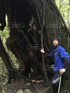 木の隣に立っている男の写真・画像素材[768268]