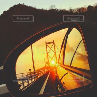 空,夕日,橋,車,日本,瀬戸内海,広島,バックミラー,尾道,瀬戸内,因島