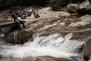 自然,自撮り,屋外,バイク,渓流,ツーリング,セルフショット