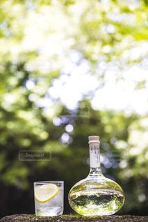 テーブルの上にガラス花瓶の写真・画像素材[1282351]