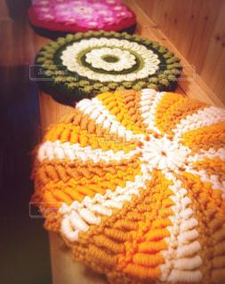 カラフル,毛糸,手づくり,座布団,手編み,編み物,寒さ対策,円座,多色,シートクッション