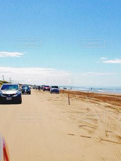 海,空,夏,晴れ,砂浜,車,海岸,自動車,休日,ドライブ,運転,千里浜