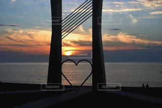 海,空,夕日,太陽,雲,夕暮れ,水平線,ハート,石川県,♡,恋人の聖地,小松市,ふれあい健康広場