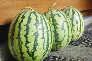夏,緑,スイカ,果物,収穫,並ぶ,3,複数,自家栽培,水分補給,縞々,すいか,熱中症予防,熱中症対策,縦縞