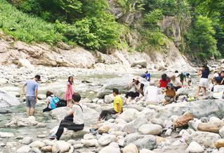 黒部川で足湯の写真・画像素材[1365239]