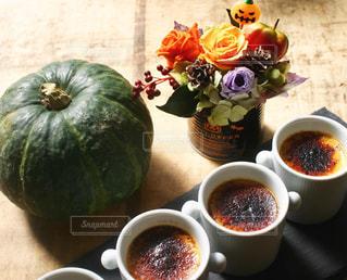 食べ物,スイーツ,秋,洋菓子,お菓子,ハロウィン,かぼちゃ,パンプキン,プリン,プリザーブドフラワー,カボチャ,秋の味覚,食欲の秋,かぼちゃプリン