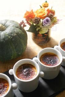 食べ物,スイーツ,秋,洋菓子,お菓子,ハロウィン,かぼちゃ,パンプキン,プリン,プリザーブドフラワー,秋の味覚,食欲の秋,かぼちゃプリン