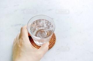 飲み物,インテリア,屋内,水,透明,手,氷,ガラス,コップ,食器,ドリンク,冷たい,ひんやり,ライフスタイル,左手,コースター,飲料,冷水,ソフトド リンク