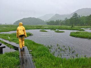 湖の側に座っている黄色い消火栓 - No.848827