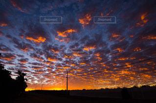 背景にオレンジ色の夕日の写真・画像素材[710102]