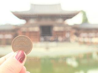 女性,風景,京都,手持ち,人物,ポートレート,お金,平等院鳳凰堂,ライフスタイル,手元,10円
