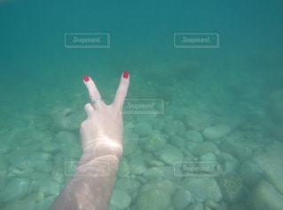 水の下で泳ぐ魚を持っている手 - No.771284