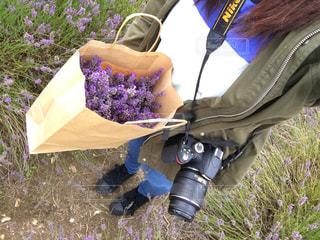 草の上に座っている女性の写真・画像素材[887434]