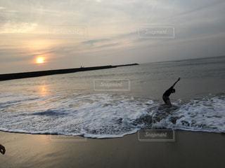 海,空,波,朝焼け,日の入り,ジェスチャー