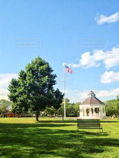 アメリカのホームドラマに出てきそうな開放感たっぷりの公園の写真・画像素材[1164813]