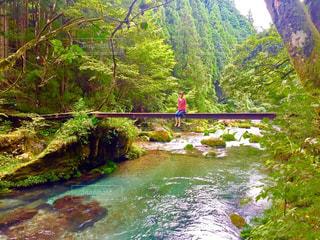 水の体の上の大きな滝の写真・画像素材[766136]