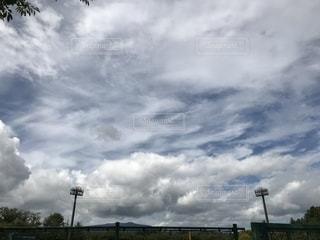 雲,秋空,野球場,台風前