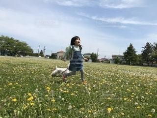 野原の黄色い花の中の若い少年の写真・画像素材[2138530]