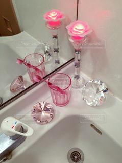 鏡,キラキラ,歯磨き,洗面台