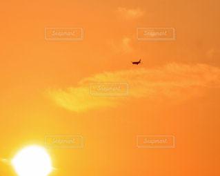 空,夕焼け,飛行機,黄色,旅行,幸せ,イエロー