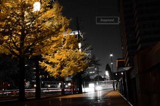 近くに夜の街のアップの写真・画像素材[874552]