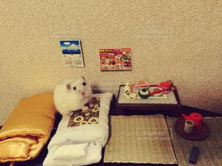 ベッドの上に座って赤白と青の靴の写真・画像素材[724671]