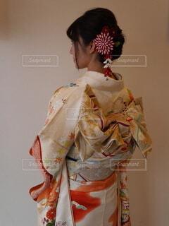 後ろ姿,人,髪飾り,イベント,和服,お祝い,晴れ着,ヘアアレンジ,振袖,帯,成人式,和装,行事,振り袖,成人の日