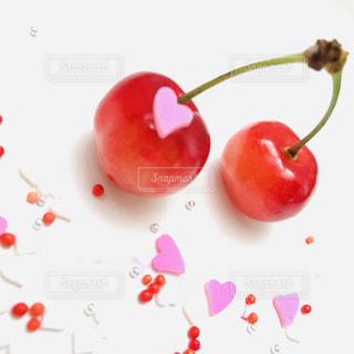 食べ物,デザート,果物,さくらんぼ,ハート,可愛い,赤色,ピンク色,ラブリー,ハートシュガー