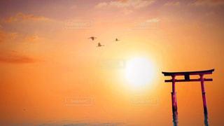 琵琶湖に立つ鳥居の写真・画像素材[2392826]