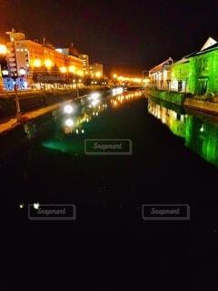 小樽運河ライトアップの写真・画像素材[4065774]