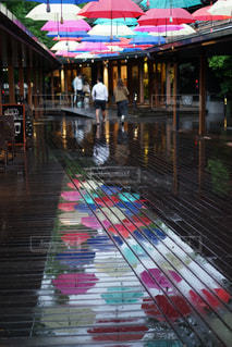 雨,傘,カラフル,水面,反射,リフレクション,梅雨,天気,カラー,雨の日