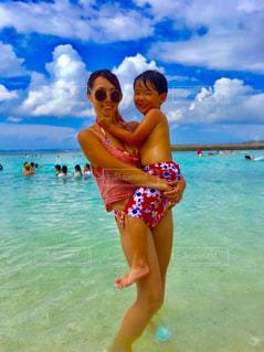 海,空,ビーチ,海岸,旅行,ママと子供
