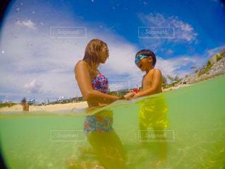 海,空,ビーチ,カラフル,子供,ママと子供