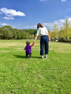 秋,お散歩,ママと子供