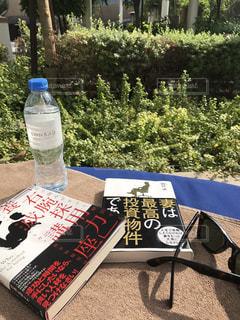 ピクニック用のテーブルの横にあるワインのボトルの写真・画像素材[740277]