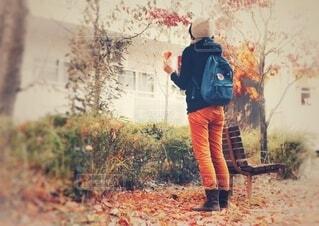 紅葉の公園で立つリュックを背負った女性の後ろ姿の写真・画像素材[3750572]