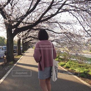 道の端に立っている人の写真・画像素材[1111816]