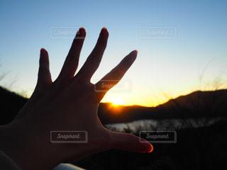 空,夕日,手,景色