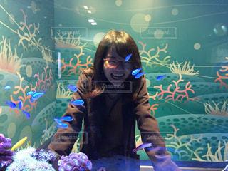癒しの熱帯魚と大爆笑の写真・画像素材[833984]